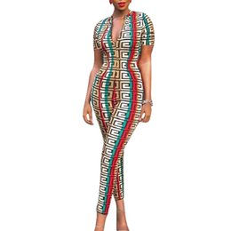 Chinese  2019 Bodysuit Womens Plus Size Tight Jumpsuit Ladies Rompers Zipper Sexy V Neck Geometric Print Party Jumpsuits Playsuits Romper manufacturers