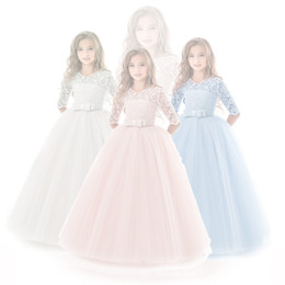 Discount elegant princess gowns for kids - Kids Dress for Girls Wedding Tulle Lace Long Girl Dress Elegant Princess Party Pageant Formal Gown for Teen Children5-14