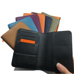 $enCountryForm.capitalKeyWord Australia - Fashion Women Men Passport Holder Cover Solid Passport Cover for Travel Document Case Real Leather Credit Card Holder Wallet ID Card Case