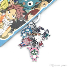 classic alloy NZ - 5set Cartoon Fairy Tail Happy Cat Keychain Keyring Key Chain Zinc Alloy New Movie&tv Collection Toys