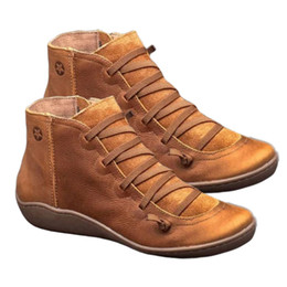 Shoe arch SupportS online shopping - Women s PU Leather Ankle Boots Arch Support Autumn Winter Cross Strappy Vintage Women Punk Boots Flat Ladies Shoes Woman Boot