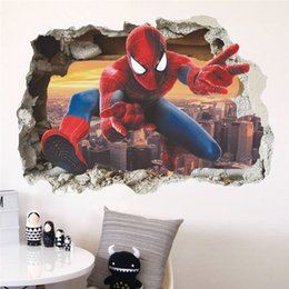 Sticker Spider man online shopping - 3D Broken Wall Spider Man Pattern Children Room Wall Stickers Background Decoration Bedroom Living Room Sofa PVC Wall Stickers