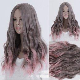 Lolita Curly Wigs Australia - LOLITA purple Gray Pink Hair Cosplay Party Wig Wavy Curly Full Long women's Wigs