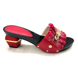 b4e294f596a New Arrival Italian RED Shoe High Square Heels Best Selling African Woman  Sandals Shoe For Women For Wedding Party Set Italian