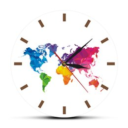 unique analog watches Australia - Unique Colorful World Map Wall Clock Silent Movement Modern Decorative Wall Watch Geometric Wall Art Housewarming Traveler Gift