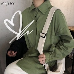 loose korean blouses Australia - Blouse Womens Summer Korean Style 2020 Students Women Loose Oversize Bf Ulzzang Harajuku Full Sleeve All-match Plus Size Hot New