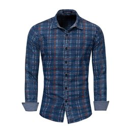ed873cb61 StyliSh denim ShirtS online shopping - Stylish Men Denim Shirt Classic Blue  Long sleeved Shirt Cotton