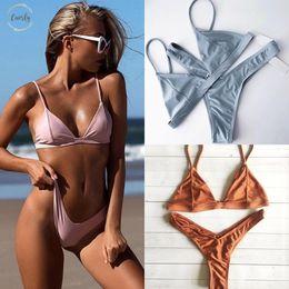 Triangle swimsuiT padding online shopping - Swimwear Women Push Up Bikini Hot Sale Beach Thong Straps Triangle Padded Swimsuit Female Brazilian Biquini