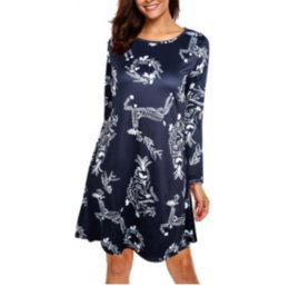 snowflake dresses Canada - Christmas tree snowman snowflake fawn print dress Christmas print slim long sleeve round neck dress