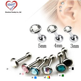 Tragus Barbell Wholesale Australia - Showlove-Gem Ear Piercing Lip Body Helix Tragus Lobe Barbell Bar Earrings Ear Studs Piercing 3mm&4mm&5mm Choosable