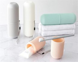 Wholesale Creative Portable Toothpaste Toothbrush Holder Case Non Slip Strip Germproof Storage Box Plastic Couple Bathroom Accessories