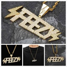 $enCountryForm.capitalKeyWord Australia - Luxury Designer Freezy Lightning Gold Blingbling Diamond Solid Letter Pendant Chain Necklace Hip Hop Punk CZ Cubic Zirconia Rapper Jewelry