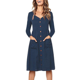 3dad20716b77 Long Sleeve Shirt Dress 2019 Sexy V Neck Solid Color Button Midi Dress Women  Pockets Beach Dresses For Ladies Casual Style Tunic