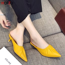 Wholesale Sexy Pointed Toe Leather Terlik Summer Ladies Pumps Casual Mules Shoes Woman Slippers Kitten Heels Female Woman