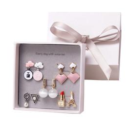 Japanese Box Set Australia - 5pair set box Alloy earrings set girls and ladies simple Japanese and Korean earrings stud Week small jewelry gift