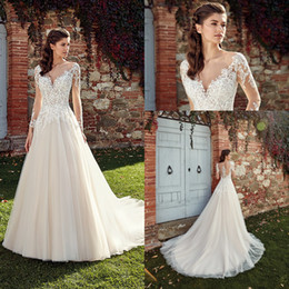 Scalloped wedding dreSSeS online shopping - 2019 Scoop Neck Lace A Line Wedding Dresses Sheer Long Sleeves Tulle Lace Applique Backless Sweep Train Wedding Bridal Gowns With Buttons