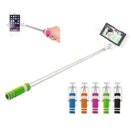 Wholesale Foldable Mini Wired Selfie Stick Handheld Extendable Monopod Non slip Handle for iPhone S plus Samsung
