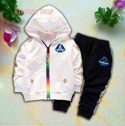 $enCountryForm.capitalKeyWord Australia - 2019 Kids Cardigan Coats And Pants 2Pcs sets 1-4T Children Sports Sets Rainbow Zipper Long Sleeve Colorful Stripe Diamond Design Summer Suit