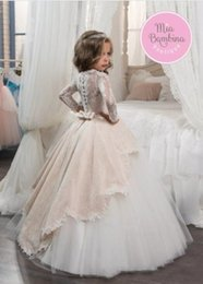 Wholesale Long Sleeves Long Ball Gown Flower Girls Dresses for Wedding Party Little Princess Pageant Dresses with Overlay Skirt Birthday Dresses