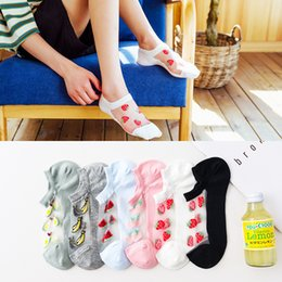cartoon socks invisible NZ - Cartoon Woman Sock Ladies Thin Socks Strawberry for Women Solid Happy Short Sox Couples Cotton Trendy Summer Invisible Sokken