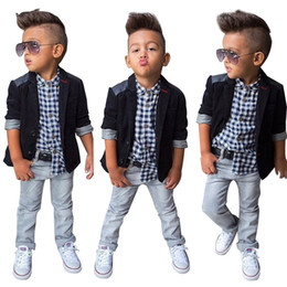 $enCountryForm.capitalKeyWord NZ - Spring Autumn Children Boys Clothing Sets Baby Boys Suit Set Black Jacket Coat + Plaid Shirt + Denim Pants 3pcs Kids Clothes Set