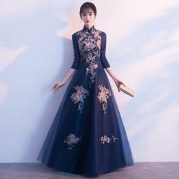 $enCountryForm.capitalKeyWord NZ - Chinese Style Cheongsam Full Length Applique Tulle Robe De Soiree 2019 NEW Slim Bridesmaid Wedding Dress Sexy Evening Gown 3XL