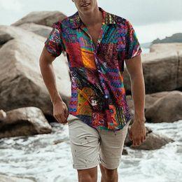 $enCountryForm.capitalKeyWord NZ - Plus Size Shirts Men Cotton Linen Printed Short Sleeve Casual Turn-down Collar Shirts Tie Summer Tops New Arrival Clothing