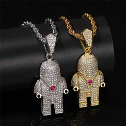 $enCountryForm.capitalKeyWord NZ - Robot Pendant Hiphop Necklace For Men Bling Cubic Zirconia 14K Gold Plated Hip Hop Jewelry Ice Out Diamond Mechanic Necklaces
