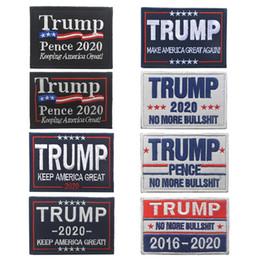 Discount cap badges - Trump 2020 Embroidery Cloth Sticker Trump Cap Patch Magic Sticker Armband Make America Great Again Badge Party Favor TTA