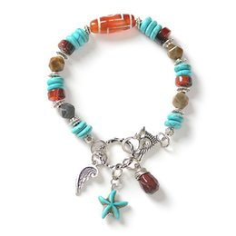 Wholesale Handmade Drop Starfish Bead Pendent Mixed Natural Stone Bracelet With Cute Alloy Bird Lobster Clasp S100