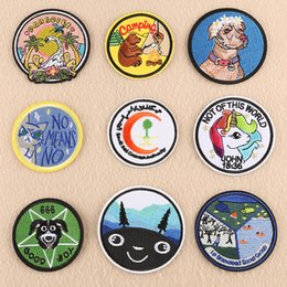 $enCountryForm.capitalKeyWord Australia - 1 PCS Round Unicorn Clothes Patches for Stripes Bear Clothing Stickers Iron on Dogs Appliques Animals Embroidery Badges @E