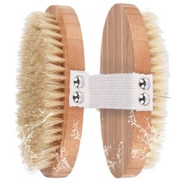 Sponge handle online shopping - Natural Boar Bristles Bamboo Body Brush Back Brush Remove Dead Skin Body Shower Bath Spa Massage with Rivet Without Handle CCA11842