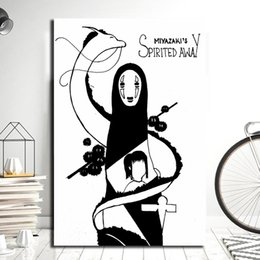 Painting Faces NZ - No Face Spirited Away Poster Anine Minimalist Art Canvas Print Abstract Painting Black White Wall Picture Modern Home Decoration