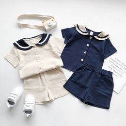 korean kid cute t shirt UK - 2020 Kids Summer Clothes Japanese And Korean Style Ailor Collar Cotton Linen Clothing Sets Boys Girls Short Sleeve T Shirt CY200515