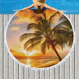 $enCountryForm.capitalKeyWord NZ - Tropical Beach Printed Microfiber Round Beach Towel Bath Towels for Adults Kids Yoga Mat Tassels Blanket Home Decor