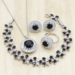 wholesale pendant sets NZ - Black Cubic Zirconia Silver Jewelry Sets for Women Bracelet Necklace Pendant Earrings Ring Wedding Birthday Jewelry
