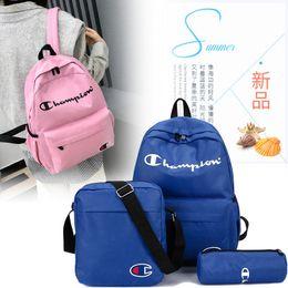 c80553d9b Champions Letters Nylon Backpack 1set=3piece Student School Bag Men Women  Travel Sport Shoulder Bags portable laptop bag Rucksack