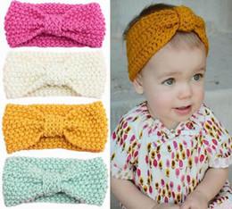 Headbands Bow Australia - Newest 16 Styles Winter Baby Headbands Knitted Bow Headgear Wool Girls Infant Ear Protect Headwear Children's Hair Accessories Free DHL M19F