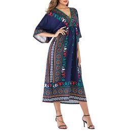 Wholesale vintage batwing dress for sale – plus size Summer Women Short Sleeve Bohe Dresses Lady Loose Batwing Sleeve Long Dresses A Line Woman Beach Dresses Short Sleeve