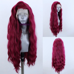 China Hand Tied New red Color 360 lace Water Wave Hair wigs Heat Resistant Hair Synthetic Lace Front Wigs for women natural hairline cheap ombre dark burgundy lace front wigs suppliers