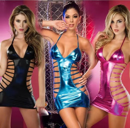 erotic pvc dresses UK - Sexy Lingerie Hot Women PVC Leather Erotic Dress Lenceria Sex Underwear Exotic Apparel Sex Clothes Pole Dance Sexy Costumes