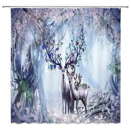 $enCountryForm.capitalKeyWord UK - Fantasy Forest Cute Deer Elk with Fruits Antlers Cartoon Wildlife Flowers Trees Fairy Scenery Decor Fabric Bathroom Curtains