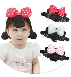 $enCountryForm.capitalKeyWord Australia - Baby Wig Bow Headband 3 Colors INS Newborn Cartoon Hair Band Toddler Girls Wig Braids Hair Accessories
