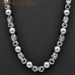 $enCountryForm.capitalKeyWord NZ - SUNNERLEES Fashion Jewelry Stainless Steel Necklace 6mm Byzantine Link Chain Silver Black Gold Color For Men Women SC66 N