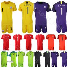Chile football shirt online shopping - Goalkeeper GK Goalie Chile Soccer Claudio Bravo Jersey Set Brayan Cortes Gabriel Arias Football Shirt Kits
