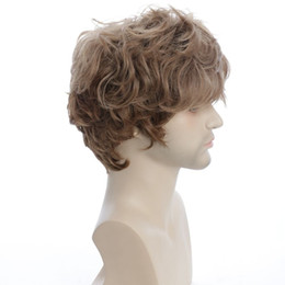 Korean fashion wigs online shopping - New Handsome Men Fashion Short Brown Curly Hair Korean Heat Resistant Boy Cosplay Heat Full lace Wigs