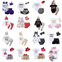 wholesale girls sequin shorts Canada - Kids Clothes Baby Three-piece Clothing Sets Sequins Baby Rompers Children Jumpsuits for Boys Girls Pants Shorts Hairband Hats Tops EZYQ425