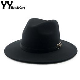 89dc122b853 YY Metal Skull Belt Fedora Cap Men Winter Vintage Trilby Hats Women Warm Felt  Cap Wide Brim Top Jazz Panama Hats 9 Colors 18126 D19011103