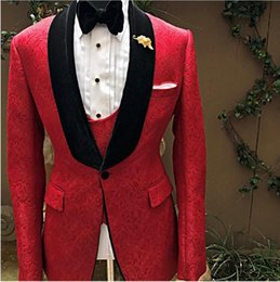 $enCountryForm.capitalKeyWord Australia - Evening Dress Custom Made Red Floral Pattern Men Suits Shawl Lapel Stage Tuxedo Wedding Suits For Man Blazer Bridegroom Prom Jacket+Vest+Bow