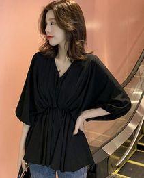 $enCountryForm.capitalKeyWord Australia - Korean version of the V-neck Lantern sleeve waist white casual shirt female chic niche design blouse 001